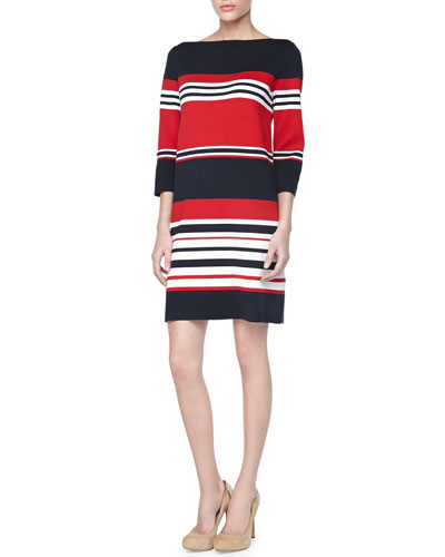 Michael Kors Striped Cotton 3/4-Sleeve Dress