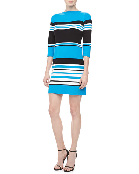 Striped Cotton 3/4-Sleeve Dress, Black/Pool