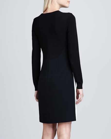 Long-Sleeve Colorblock Knit Dress
