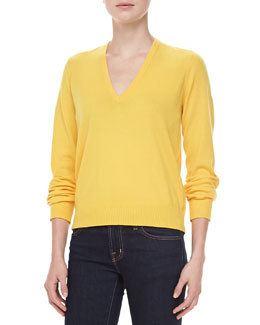 Michael Kors V-Neck Cashmere Top, Sun