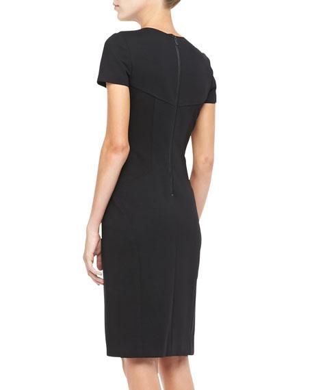 Georgette Yoke-Cutout Sheath Dress