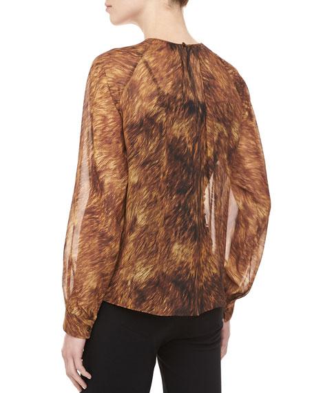 Fox-Print Silk Chiffon Top