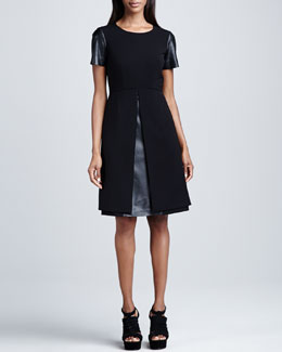 Lafayette 148 New York Rosalyn Dress with Leather Combo