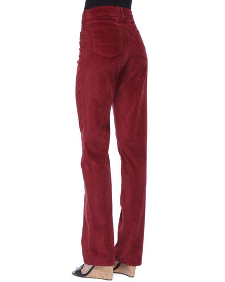 Marilyn Velveteen Straight-Leg Jeans, Petite