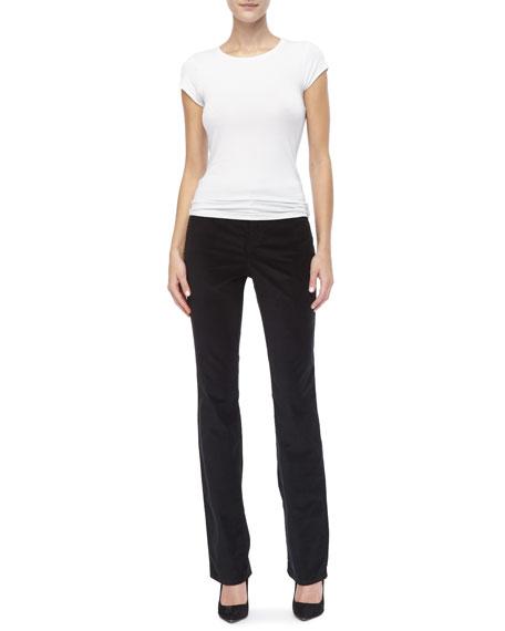 Marilyn Velveteen Straight-Leg Jeans, Black