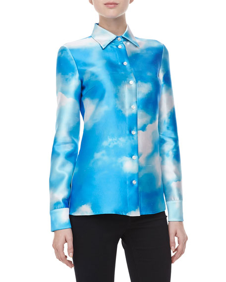 Cloud-Print Shantung Shirt