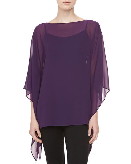 Silk Chiffon Tunic, Blackberry