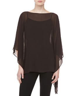 Michael Kors Silk Chiffon Tunic, Chocolate