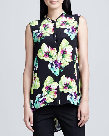 Sari Floral-Print Silk Blouse