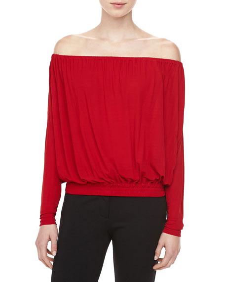 Georgette Jersey Off-the-Shoulder Top, Crimson