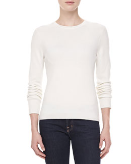 Michael Kors Long-Sleeve Cashmere, White