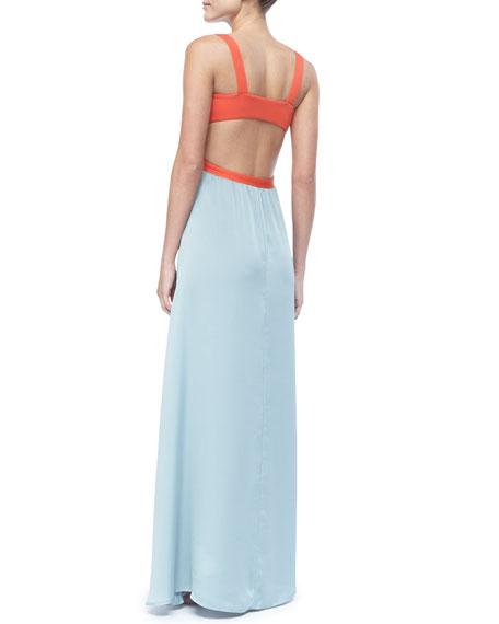 Neverland Colorblock Open-Back Coverup Maxi Dress