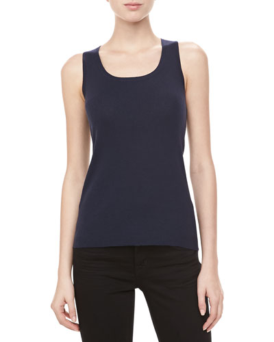Michael Kors Ribbed Cashmere Tank, Midnight