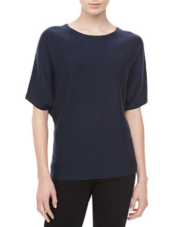 Michael Kors Short-Sleeve Cashmere Top, Midnight