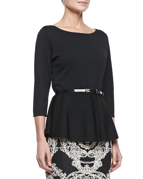 3/4-Sleeve Peplum Top with Belt, Black