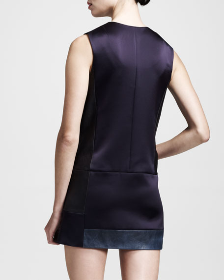 Newton Sateen-Leather Snap Dress