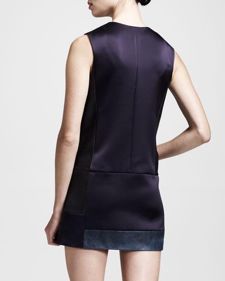 Newton Sateen-Leather Snap Dress