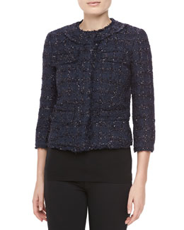 Michael Kors Liquid Tweed Jewel-Neck Jacket, Midnight