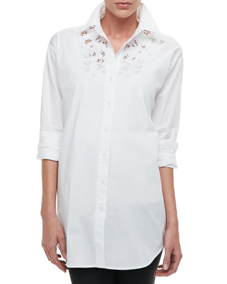 Silk Big Shirt with Lace, Petite