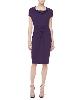 Michael Kors Draped-Neck Matte Jersey Dress, Blackberry