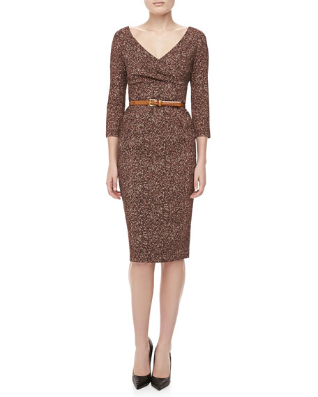 Herringbone-Print Cady Belted Dress, Chocolate