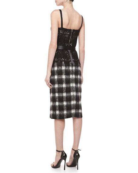 Buffalo Check Pencil Skirt, Black/Ivory