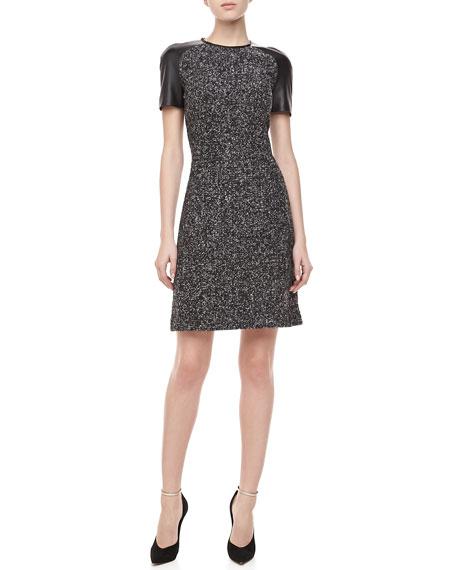 Leather-Sleeve Tweed Dress, Black/Banker