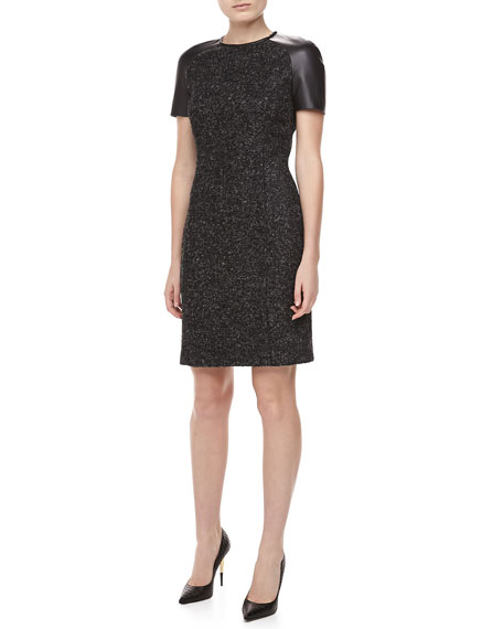 Leather-Sleeve Tweed Dress, Charcoal/Black