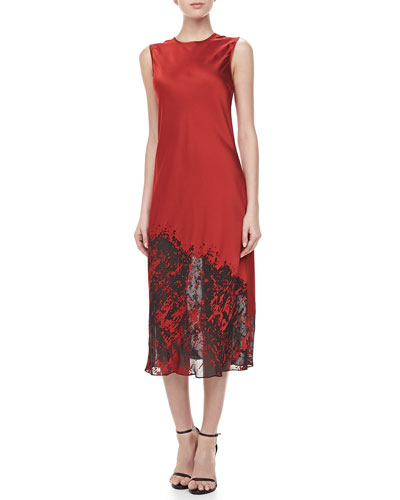 Michael Kors Bias Devore Midi Dress, Crimson