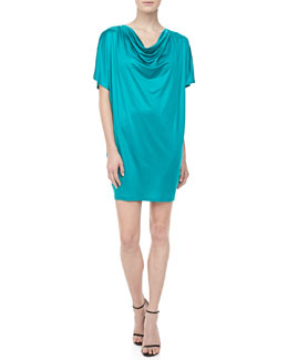 Michael Kors Silk Jersey Draped Dress, Turquoise
