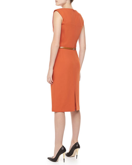 Boucle Crepe Belted Sheath Dress, Paprika