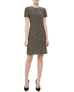 Michael Kors Metallic Tweed Short-Sleeve Dress