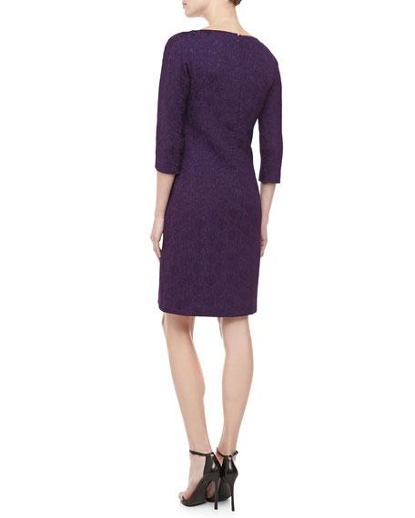 3/4-Sleeve Jacquard Sheath Dress, Blackberry