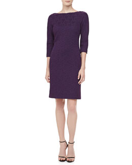 Michael Kors 3/4-Sleeve Jacquard Sheath Dress, Blackberry