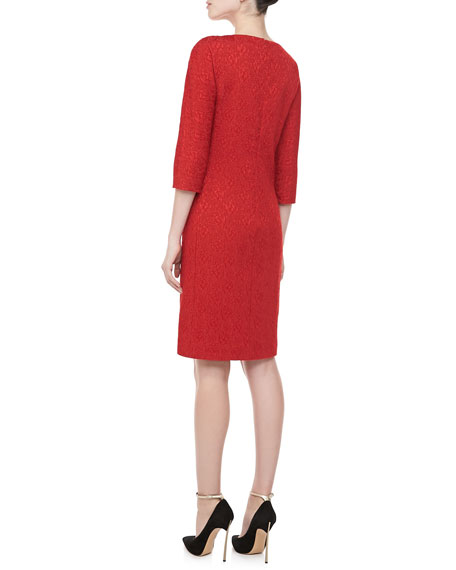 3/4-Sleeve Jacquard Sheath Dress, Crimson