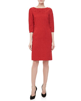 Michael Kors 3/4-Sleeve Jacquard Sheath Dress, Crimson