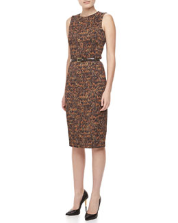 Michael Kors Pheasant-Print Cady Dress