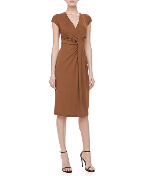 Jersey Faux-Wrap Dress, Saddle