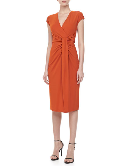 Jersey Faux-Wrap Dress, Paprika