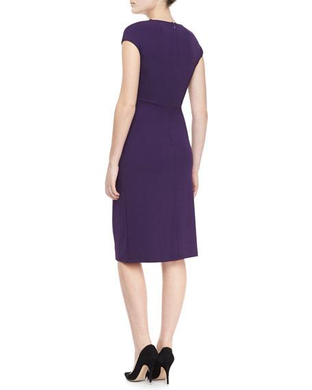Jersey Faux-Wrap Dress, Blackberry