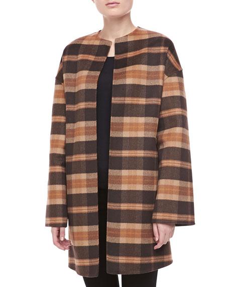 Open-Front Plaid Coat