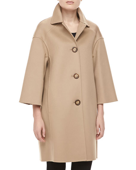 Double-Face Melton Wool Coat, Fawn