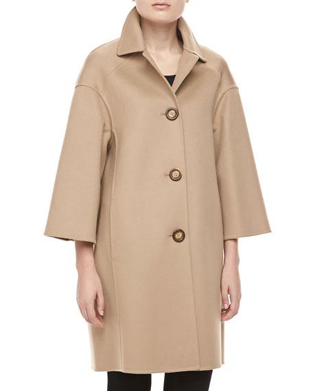 Double-Face Melton Wool Coat, Fawn