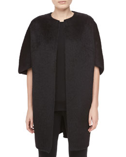 Michael Kors Open-Front Brushed Alpaca & Wool Coat, Black
