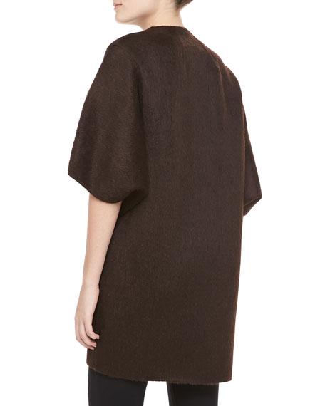 Open-Front Brushed Alpaca & Wool Coat, Chocolate