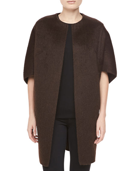 Open-Front Brushed Alpaca & Wool Coat, Chocolate