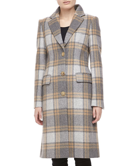 Belmont Plaid Wool Coat, Banker