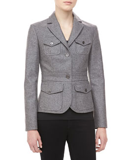 Michael Kors Felted Melange Wool Jacket, Banker