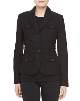 Michael Kors Felted Wool Travel Jacket, Black