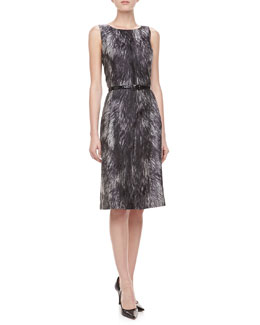 Michael Kors Fur-Print Brocade Dress